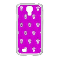 Skull Pattern Hot Pink Samsung Galaxy S4 I9500/ I9505 Case (white) by MoreColorsinLife