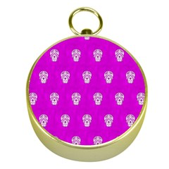 Skull Pattern Hot Pink Gold Compasses by MoreColorsinLife