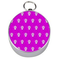 Skull Pattern Hot Pink Silver Compasses by MoreColorsinLife