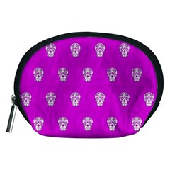 Skull Pattern Hot Pink Accessory Pouches (medium)  by MoreColorsinLife