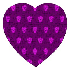 Skull Pattern Purple Jigsaw Puzzle (heart) by MoreColorsinLife
