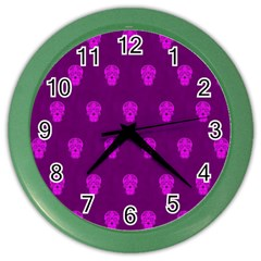 Skull Pattern Purple Color Wall Clocks by MoreColorsinLife