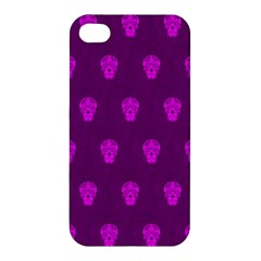 Skull Pattern Purple Apple Iphone 4/4s Premium Hardshell Case by MoreColorsinLife
