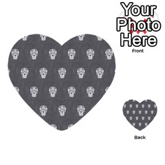 Skull Pattern Silver Multi Purpose Cards (heart)  by MoreColorsinLife