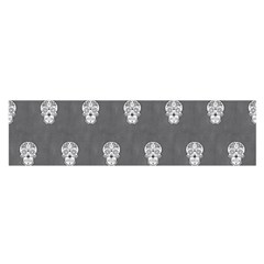 Skull Pattern Silver Satin Scarf (oblong) by MoreColorsinLife