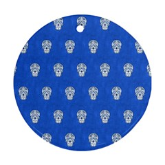 Skull Pattern Inky Blue Ornament (round)  by MoreColorsinLife