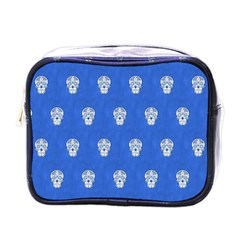 Skull Pattern Inky Blue Mini Toiletries Bags by MoreColorsinLife