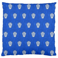 Skull Pattern Inky Blue Standard Flano Cushion Cases (one Side)  by MoreColorsinLife