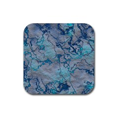 Marbled Lava Blue Rubber Coaster (square)  by MoreColorsinLife
