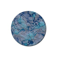 Marbled Lava Blue Rubber Coaster (round)  by MoreColorsinLife