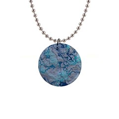 Marbled Lava Blue Button Necklaces by MoreColorsinLife