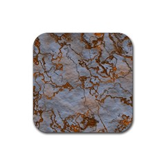 Marbled Lava Orange Rubber Square Coaster (4 Pack)  by MoreColorsinLife