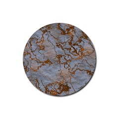 Marbled Lava Orange Rubber Round Coaster (4 Pack)  by MoreColorsinLife