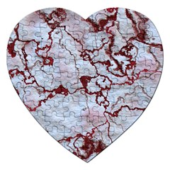 Marbled Lava Red Jigsaw Puzzle (heart)