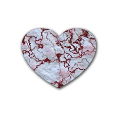 Marbled Lava Red Rubber Coaster (heart)  by MoreColorsinLife