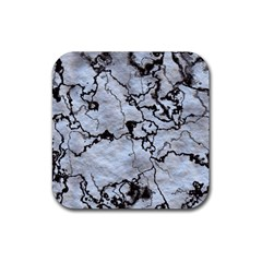 Marbled Lava White Black Rubber Coaster (square)  by MoreColorsinLife