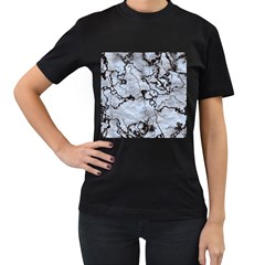 Marbled Lava White Black Women s T Shirt (black) (two Sided) by MoreColorsinLife