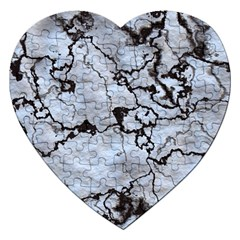 Marbled Lava White Black Jigsaw Puzzle (heart) by MoreColorsinLife