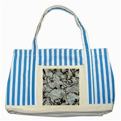 Marbled Lava White Black Striped Blue Tote Bag  by MoreColorsinLife