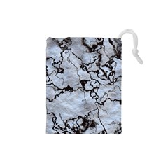 Marbled Lava White Black Drawstring Pouches (small)  by MoreColorsinLife