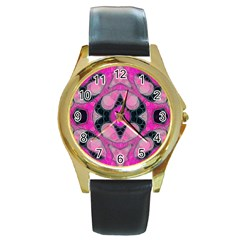 Pink Black Abstract  Round Gold Metal Watches by OCDesignss