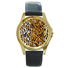 Brown Cheetah Abstract  Round Gold Metal Watches by OCDesignss