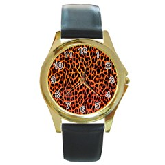 Red And Black Abstract  Round Gold Metal Watches by OCDesignss