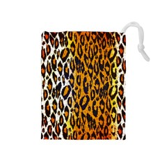 Cheetah Abstract Pattern  Drawstring Pouches (medium)