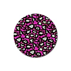 Pink Black Cheetah Abstract  Rubber Round Coaster (4 Pack)  by OCDesignss