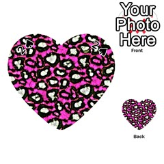 Pink Black Cheetah Abstract  Playing Cards 54 (heart)  by OCDesignss