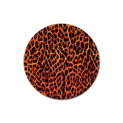 Lava Abstract Pattern  Rubber Round Coaster (4 Pack)  by OCDesignss