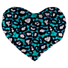 Turquoise Black Cheetah Abstract  Large 19  Premium Flano Heart Shape Cushions by OCDesignss