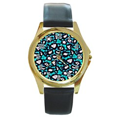 Turquoise Blue Cheetah Abstract  Round Gold Metal Watches by OCDesignss