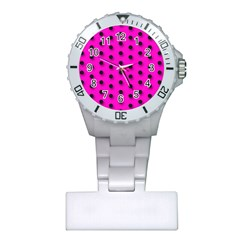 Florescent Pink Polka Dot  Nurses Watches by OCDesignss