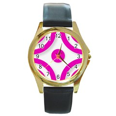 Pink White Abstract Unique Patterns  Round Gold Metal Watches by OCDesignss
