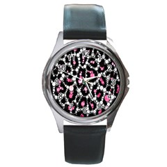 Pink Cheetah Bling  Round Metal Watches by OCDesignss