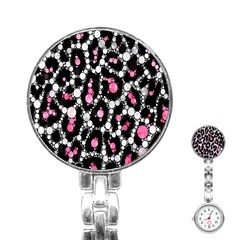 Pink Cheetah Bling  Stainless Steel Nurses Watches by OCDesignss