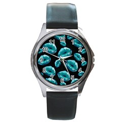 Turquoise Sassy Lips  Round Metal Watches by OCDesignss