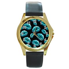 Turquoise Sassy Lips  Round Gold Metal Watches by OCDesignss