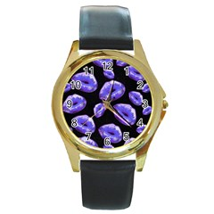 Sassy Purple Puckered Lips  Round Gold Metal Watches by OCDesignss