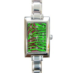 Florescent Green Zebra Print Abstract  Rectangle Italian Charm Watches by OCDesignss