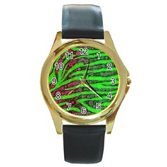 Florescent Green Zebra Print Abstract  Round Gold Metal Watches by OCDesignss