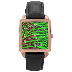 Florescent Green Zebra Print Abstract  Rose Gold Watches by OCDesignss