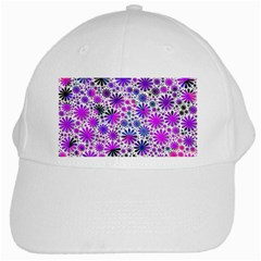 Lovely Allover Flower Shapes Pink White Cap by MoreColorsinLife