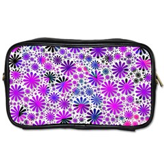 Lovely Allover Flower Shapes Pink Toiletries Bags 2 Side by MoreColorsinLife