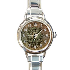 Elegant Clef With Floral Elements On A Background With Damasks Round Italian Charm Watches by FantasyWorld7