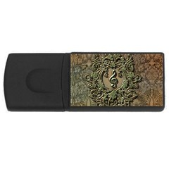 Elegant Clef With Floral Elements On A Background With Damasks Usb Flash Drive Rectangular (4 Gb)  by FantasyWorld7