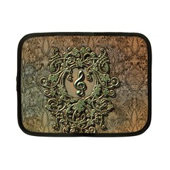 Elegant Clef With Floral Elements On A Background With Damasks Netbook Case (small)