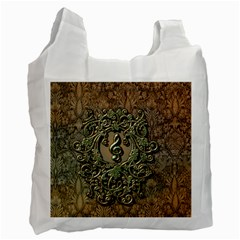 Elegant Clef With Floral Elements On A Background With Damasks Recycle Bag (one Side) by FantasyWorld7