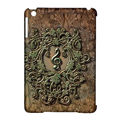 Elegant Clef With Floral Elements On A Background With Damasks Apple Ipad Mini Hardshell Case (compatible With Smart Cover) by FantasyWorld7